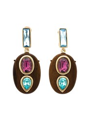 Oscar De La Renta Wooden Crystal Clip On Earrings Multicolour