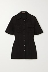 Maggie Marilyn Lead The Charge Brushed Cotton Blend Tweed Shirt Black