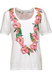 Y 3 Floral Print Cotton Jersey T Shirt White