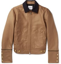 Takahiromiyashita Thesoloist Slim Fit Corduroy Trimmed Wool And Silk Blend Bomber Jacket Camel