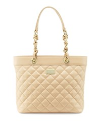 St. John Quilted Leather Tote Bag Classic Beige Gold