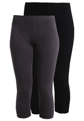 Zalando Essentials 2 Pack Leggings Black Dark Grey