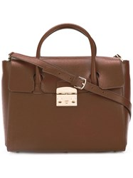 Furla Top Handle Satchel Brown
