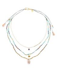Chan Luu Beaded Multi Strand Shell Necklace Blue Gold