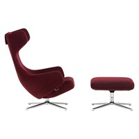 Limited Edition Grand Repos Chair And Ottoman Nobile Fabric Bordeaux