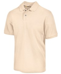 Club Room Short Sleeve Solid Estate Performance Sun Protection Polo Natural