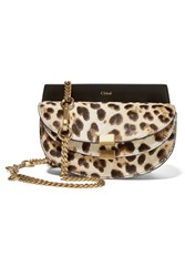 Chloe Georgia Convertible Leopard Print Calf Hair And Leather Belt Bag