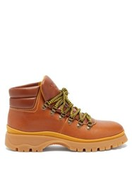 Prada Lace Up Leather Hiking Boots Tan