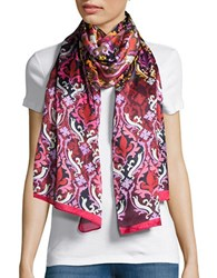 Echo Abstract Print Sheer Scarf Red