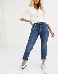 River Island Mom Jeans In Dark Blue Authentic