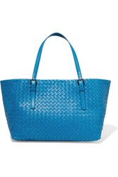 Bottega Veneta Shopper Medium Intrecciato Leather Tote Blue