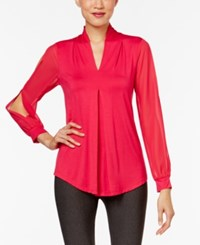 Cable And Gauge Cold Sleeve Knit Blouse Jazzy Pink