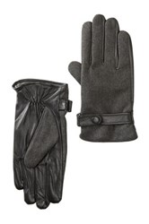 Amicale Leather And Merino Wool Gloves Gray