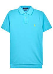Polo Ralph Lauren Aqua Custom Pique Cotton Shirt Light Blue