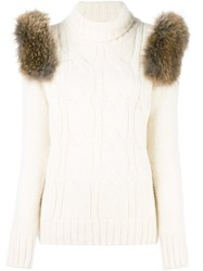 Forte Couture Turtleneck Cable Knit Sweater White