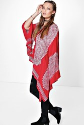 Boohoo Placement Print Oversized Tunic Red