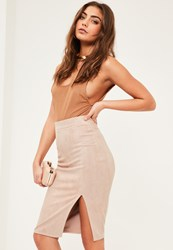 Missguided Petite Nude Faux Suede Midi Skirt
