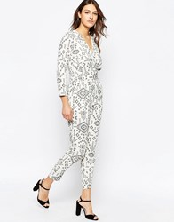 Closet V Neck Jumpsuit In Monochrome Print Black White