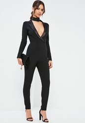Missguided Black Satin Lapel Long Sleeve Tux Jumpsuit