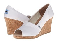 Toms Wedding Wedge 3 White Women's Wedge Shoes