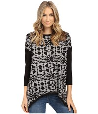 Kensie Soft Viscose Blend Aztec Sweater Ks1k5857 Heather Grey Combo Women's Sweater Black