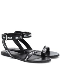 Balenciaga Printed Leather Sandals Black