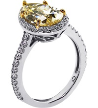 Carat Pear 3Ct Canary Yellow Borderset Ring