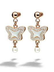 Folli Follie Butterfly Rose Gold Drop Earrings N A N A