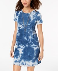 One Clothing Juniors' Tie Dyed T Shirt Dress Blue