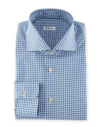 Kiton Box Check Woven Dress Shirt Blue Men's