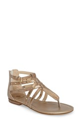 Isola Melara T Strap Gladiator Sandal Gold Leather