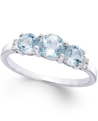 No Vendor Aquamarine 9 10 Ct. T.W. And Diamond 1 4 Ct. T.W. Ring In Sterling Silver No Color