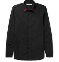 Givenchy Cuban Fit Embroidered Cotton Poplin Shirt Black