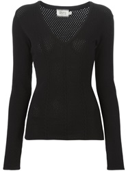 Fausto Puglisi Cable Knit V Neck Sweater Black