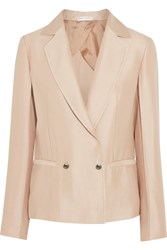 Barbara Casasola Double Breasted Silk Crepe Blazer Beige