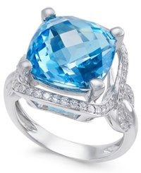 Macy's Blue Topaz 8 Ct. T.W. And Diamond 3 8 Ct. T.W. Ring In 14K White Gold