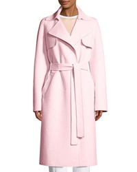 Michael Kors Belted Wool Blend Trench Coat Blush