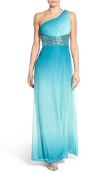 Women's Speechless Embellished Ombre One Shoulder Gown