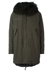 Mr And Mrs Italy Raccoon Fur Collar Parka Green