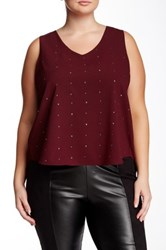 Dex Sleeveless Layered Back Embellished Woven Top Plus Size