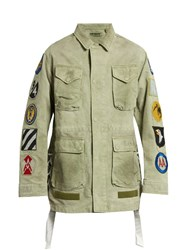 Off White Patches Applique Cotton Field Jacket Green