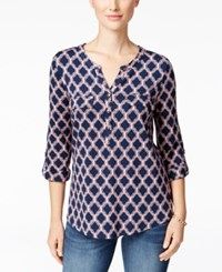 Charter Club Iconic Print Henley Top Only At Macy's Coral Bloom Combo