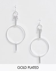 Pilgrim Silver Plated Drop Down Multi Linked Hoop Earrings