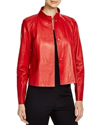 Lafayette 148 New York Crawford Crocodile Print Leather Jacket Lafayette Red