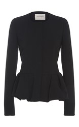 Carolina Herrera Peplum Long Sleeve Jacket Black