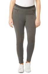 Evans Plus Size Women's Zip Detail Ponte Knit Leggings Grey