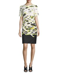 J. Mendel Short Sleeve Printed Sheath Dress Central Park