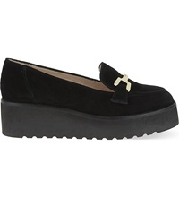 Carvela Latch Suede Platform Loafers Black