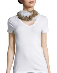 Surell Twist Loop Rabbit Scarf White