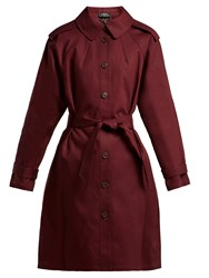 A.P.C. Lune Cotton Trench Coat Burgundy